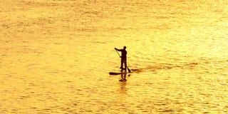 Силуэт человека paddleboarding Стоковое Изображение RF