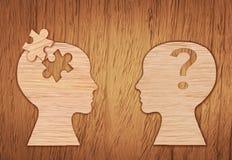 Силуэт человеческой головы, символ психических здоровий Головоломка Стоковые Фото