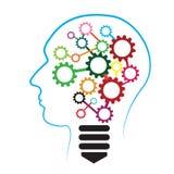 Силуэт человеческой головы с шестернями и электрической лампочкой Принципиальная схема идеи дела абстрактная иллюстрация Стоковые Изображения