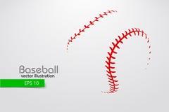 Силуэт шарика бейсбола также вектор иллюстрации притяжки corel Стоковая Фотография