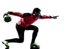 Силуэт шарика кавказского человека голкипера футболиста бросая Стоковые Изображения