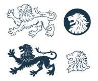 Силуэт льва Heraldic Стоковые Изображения