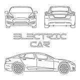 Силуэт электрического автомобиля план Стоковое фото RF