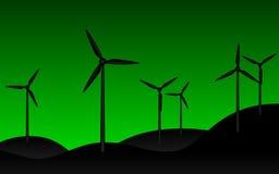 Силуэт электрической станции энергии ветра бесплатная иллюстрация