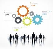 Силуэт людей глобального бизнеса Infographic Стоковая Фотография RF