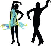 Силуэт людей танца Иллюстрация штока