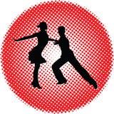 Силуэт людей танца Стоковые Фотографии RF