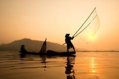 Силуэт fishermans Стоковая Фотография RF