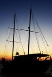 Силуэт Gulet на заходе солнца Стоковое Изображение