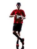 Силуэт ipad таблеток jogger бегуна цифровой Стоковые Изображения