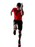 Силуэт jogger бегуна бежать jogging Стоковые Изображения RF
