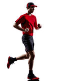 Силуэт jogger бегуна бежать jogging Стоковые Изображения