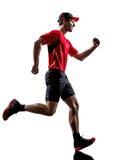 Силуэт jogger бегуна бежать jogging Стоковые Фотографии RF