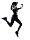 Силуэт jogger бегуна женщины Стоковое фото RF