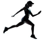 Силуэт jogger бегуна женщины Стоковые Фото