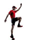 Силуэт jogger бегуна Стоковая Фотография RF