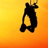 Силуэт Kiteboarder Стоковые Фотографии RF