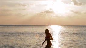 Силуэт Multi семьи поколения идя в море сток-видео