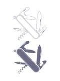 Силуэт Penknife Стоковое Изображение RF
