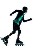 Силуэт Rollerblading конькобежца ролика человека встроенный Стоковые Изображения RF