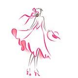 Силуэт Scribble женщины иллюстрация вектора