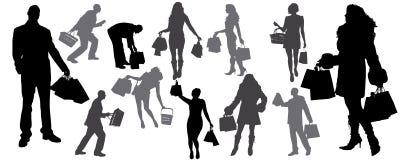 силуэт shoping Стоковое Изображение RF