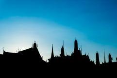 силуэт Wat Phra Kaew (висок изумрудного Будды) Стоковые Фотографии RF