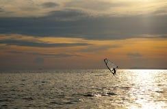 Силуэт windsurfers Стоковая Фотография RF