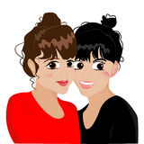 Сильное приятельство Красивая подруга с большими глазами бесплатная иллюстрация