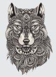 Сильно детальная абстрактная иллюстрация волка иллюстрация вектора