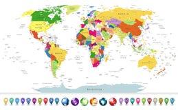 Сильно детальная политическая карта мира с лоснистым комплектом навигации Стоковое Изображение RF
