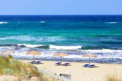Сильные волны на пляже Ильи, Skiathos Стоковая Фотография RF