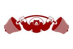 Сильные медведь и штанга Спортсмен агрессивного гризли большой анимизма бесплатная иллюстрация