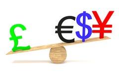 Сильный английский фунт: валюты на деревянном seesaw бесплатная иллюстрация
