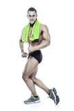 Сильный атлетический торс модели фитнеса человека показывая musles стоковое фото