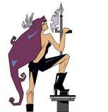 Сильный ратник женщины с копьем Стоковые Изображения RF