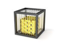 Сильный сейф с кучей золота в слитках Стоковая Фотография RF
