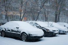Сильный снегопад в зиме городка Стоковые Фотографии RF