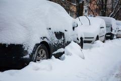 Сильный снегопад в зиме городка Стоковые Изображения