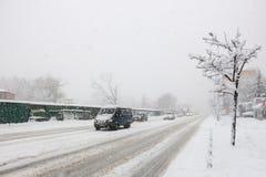 Сильный снегопад в Киеве, Украине, 5-ое февраля 2015 Стоковое фото RF