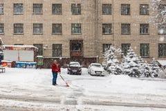Сильный снегопад в Киеве, Украине, 5-ое февраля 2015 Стоковые Фотографии RF