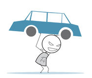 Сильный человек и автомобиль Стоковая Фотография
