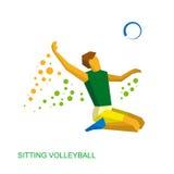 Сидя волейбол для людей с инвалидностью Стоковая Фотография RF
