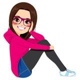 Сидя девушка подростка иллюстрация вектора