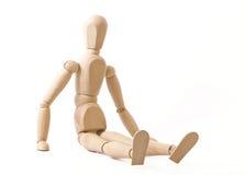 Сидя деревянная кукла Стоковое Фото
