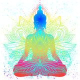 Сидя силуэт Будды Винтажное декоративное illustratio вектора иллюстрация штока