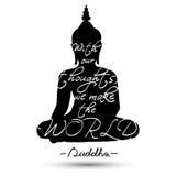 Сидя силуэт Будды Стоковая Фотография RF