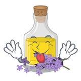 Скажите вне масло с насмешкой лаванды над таблицей макияжа мультфильма иллюстрация штока