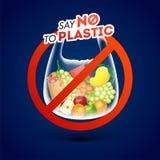 Скажите нет к пластиковому знаку запрета политена на голубой предпосылке иллюстрация вектора