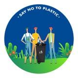Скажите нет к пластмассе, людям бросьте пластмассу в мусорной корзине для загрязнения бесплатная иллюстрация